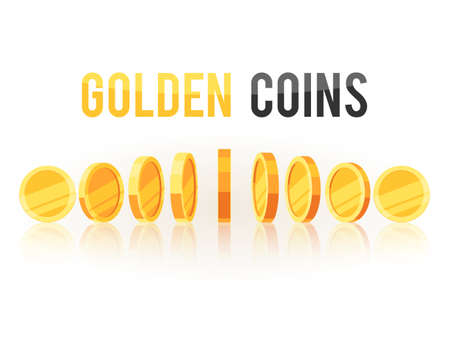 Golden coins in different positions. Vector illustration isolated on white background Stok Fotoğraf - 103171394