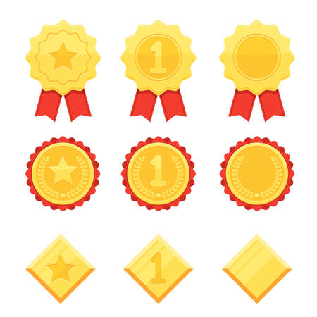 Trophy and awards icons set. Golden medals with stars and number one symbol. Vector illustration in modern flat style isolated on white background