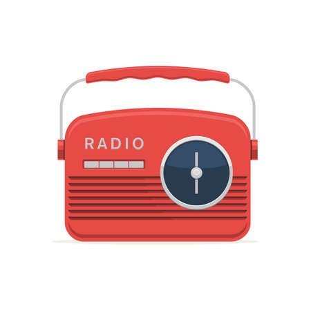 Red retro radio icon. Vector illustration in modern flat style isolated on white background Stok Fotoğraf - 98225385