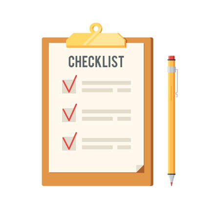Checklist and pen icon. Clipboard with red ticks checkmarks. To-do list, survey, exam concepts. Vector illustration in flat style design, isolated on white background
