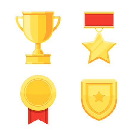Trophy cup and awards golden medals icons set. Vector illustration in modern flat style isolated on white background Stok Fotoğraf - 98304136