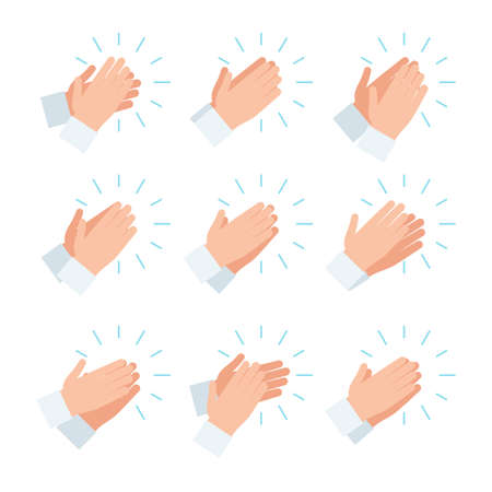 Clapping hands, applause icon set. Vector illustration in flat style design, isolated on white background