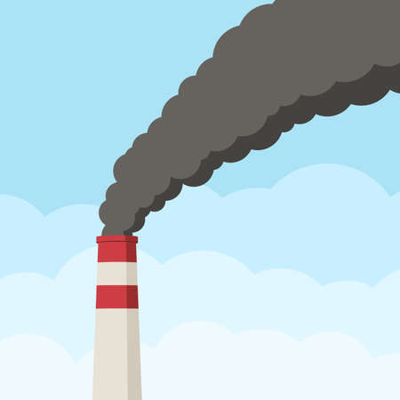 Factory pipe against the clear sky clogs the air with black smoke. Pollution of environment from industry smoke co2 emitting. Smoke from the pipes. Vector illustration