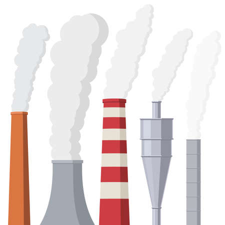 Factory or power plants pipes set pollute the air. Smoke from the pipes. Vector illustration in flat style design isolated on white background Stok Fotoğraf - 98544015