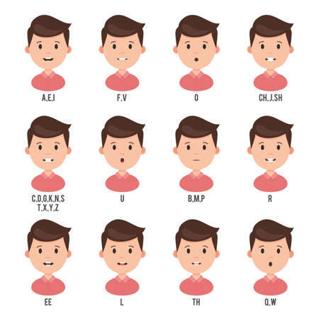 Character animation talk mouth. Male face set mouth sync for sound pronunciation. Vector illustration isolated on white background
