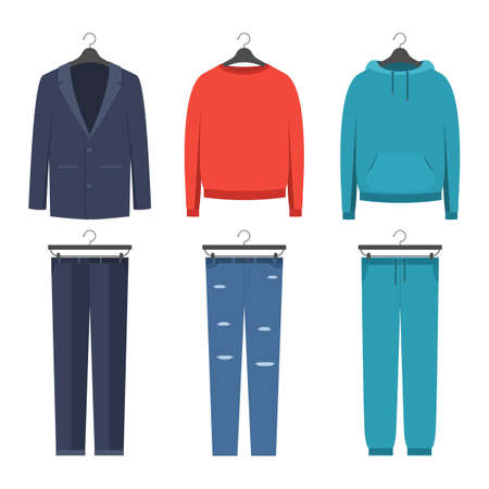 Set of mens clothing in different styles, business suit, casual, sports. Vector illustration icon in flat style isolated on a white background Stok Fotoğraf - 98732023