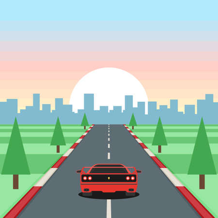 Retro game racing. Motor vehicles rides on highway on sunset background. Stok Fotoğraf - 98904231