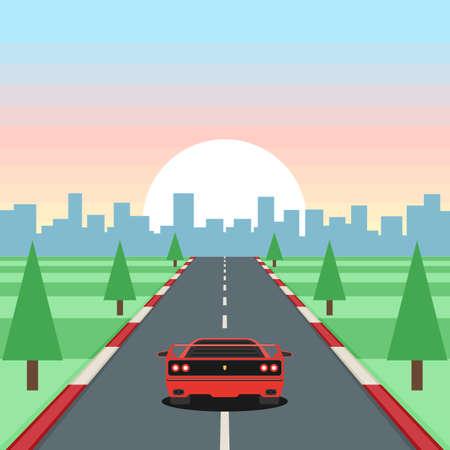 Retro game racing. Motor vehicles rides on highway on sunset background. Çizim