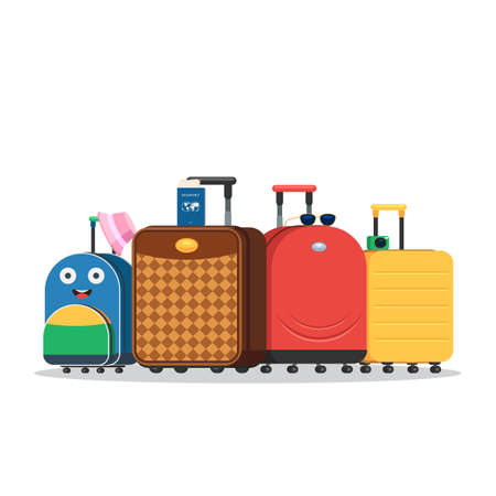 Modern travel bags with wheels for the whole family. Baggage suitcase and hat, passport with tickets, photo camera, eyeglasses. Vector illustration in trendy flat style isolated on white background Stok Fotoğraf - 98732024