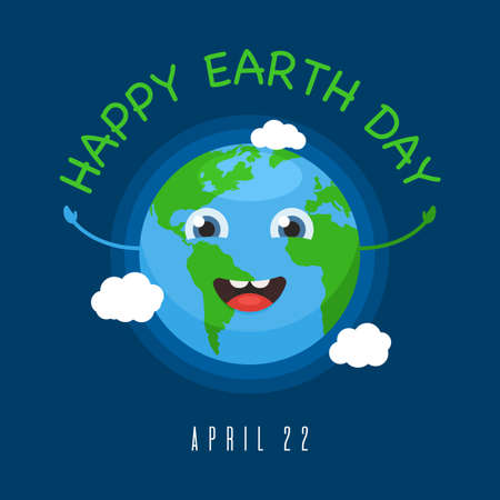 Happy Earth Day banner 22 april. Cute earth character. World map globe with smiley face icon. Vector illustration in cartoon