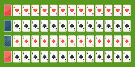 Set poker playing cards, full deck. Playing cards face and back side. Gambling games concept. Vector illustration in trendy flat style on green background 스톡 콘텐츠