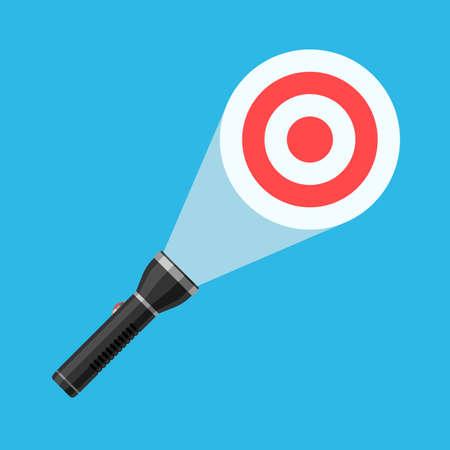 Flashlight beam illuminates the target. The concept of business purpose. Vector illustration in flat style