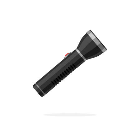 Portable hand-held flashlight. Vector illustration icon in flat style isolated on a white background