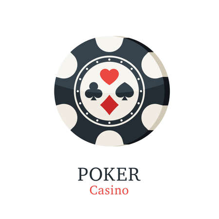Chips casino with card suits. Gambling poker chips icon. Vector illustration in trendy flat style on white background