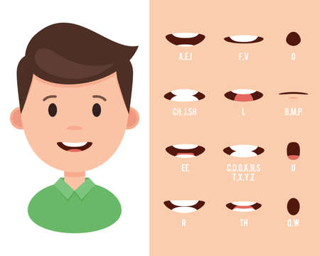 Lip sync collection for animation. Cartoon mouth sync for sound pronunciation. Vector illustration in flat style