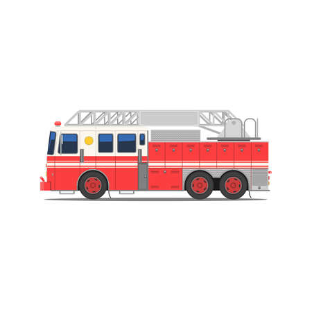 Fire engine side view. Red fire truck with stairs. Firefighting vehicle on six wheels. Vector illustration in trendy flat style isolated on white background
