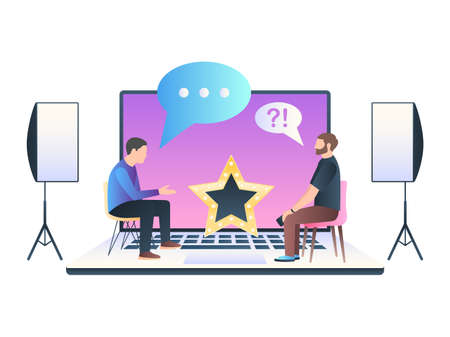 Web TV show, online interview host. People sitting talking on a laptop with Studio lighting equipment. Vector illustration in trendy flat style with gradients isolated on white background