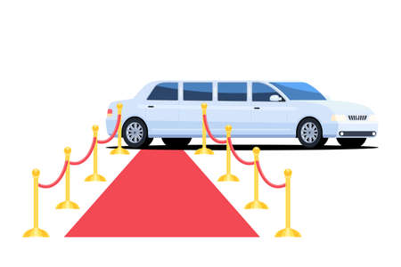 Limousine and red carpet. The luxury long white car for the VIP of persons, celebrities and important guests of a party. Vector illustration in flat style isolated on white background