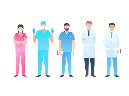 Group of hospital doctors. Medical team. Vector illustration in trendy style with grades isolated on white background