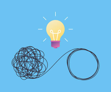 Concept idea of solving business problems, difficult situation, chaos and disorder, confused process, scribble. Unraveling tangled tangle and lamp symbol. Vector illustration