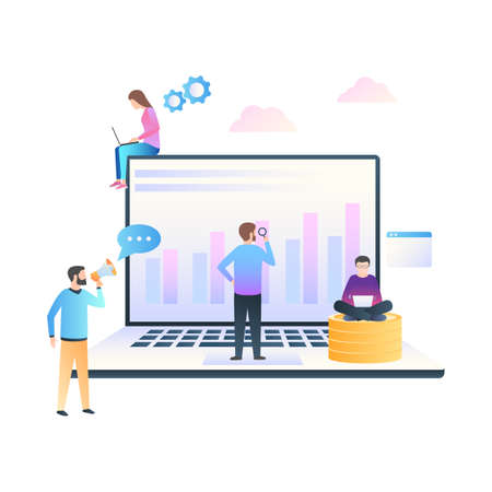 Business concept of data analysis and optimization. A team of managers working on a project. SEO Search Engine Optimization for website. Vector illustration in trendy style with gradients isolated on white background Stok Fotoğraf - 126370642