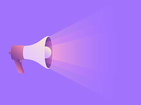 Megaphone icon on purple background with space for text. Concept ads social media action. Vector illustration in trendy style with gradients, template for web banner, poster design