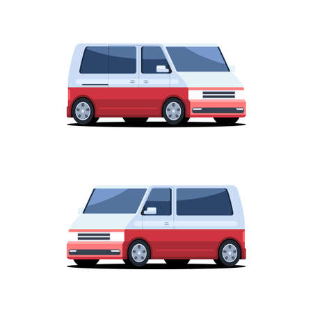 Passenger bus van. Vector illustration in flat style isolated on white background 스톡 콘텐츠