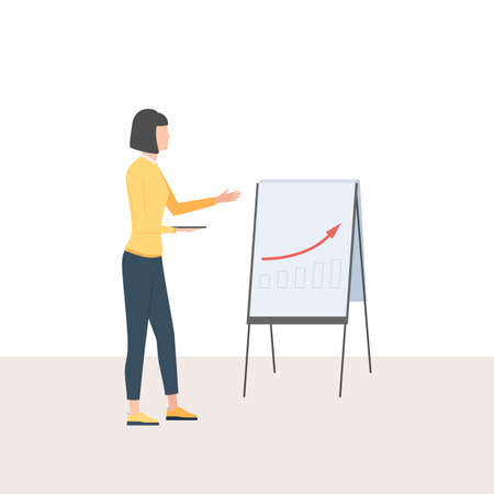 Woman with a tablet presents a graph with positive dynamics. The concept of financial Analytics, successful strategy. Vector illustration in trendy flat cartoon style 스톡 콘텐츠