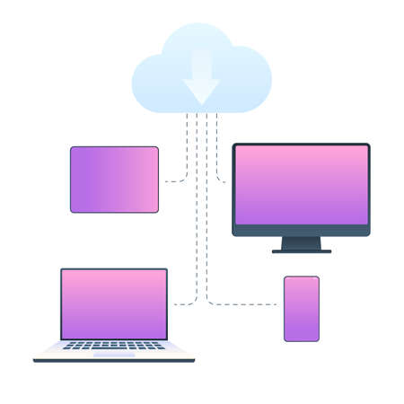 Cloud web service, data synchronization on different devices: laptop, smartphone, desktop computer, tablet. The concept of web of technologies. Vector illustration isolated on white background Stok Fotoğraf - 126370648