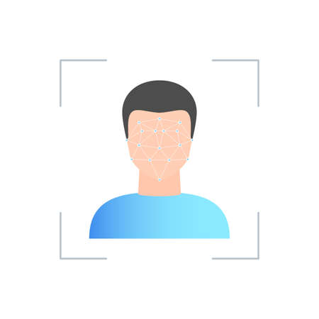 Face scan icon. Concept of facial recognition system Biometric identification symbol. Vector illustration in trendy style with gradients isolated on white background Stok Fotoğraf