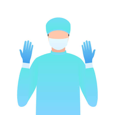 Surgeon in gloves and a mask on his face. Doctor with cap close-up. Vector illustration in trendy flat style isolated on white background