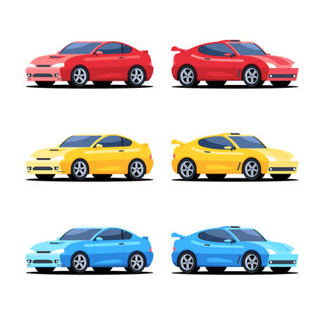 Set of sports cars of different color. Rally cars symbol in flat style design. Vector illustration isolated on white background