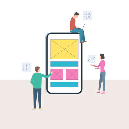 Mobile app design concept and user experience. A group of developers and a mobile phone with interface blocks on the screen. UX UI design concept with character. Vector illustration in trendy flat cartoon style Stok Fotoğraf - 126370667