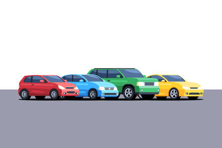 Different cars are parked in a row. Vector illustration in cartoon style isolated on white background Stok Fotoğraf