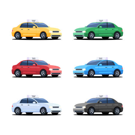 Set of different color of taxi service cars. Vector illustration in flat style isolated on white background