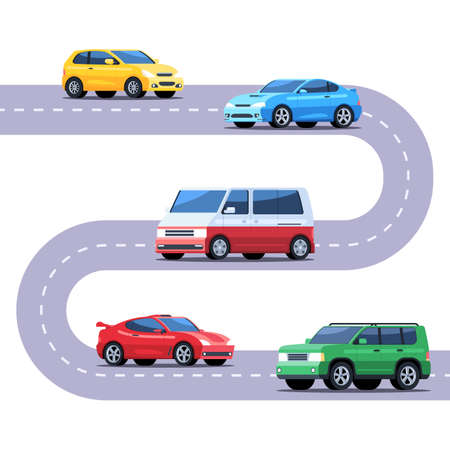 Automobile traffic on the road. Different cars, sedan, hatchback, coupe, minivan, SUV. Vector illustration in flat style isolated on white background