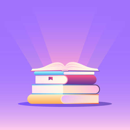 Stack of books with an open book on top and glow. The concept of learning. Vector illustration in trendy flat style with gradients on purple background