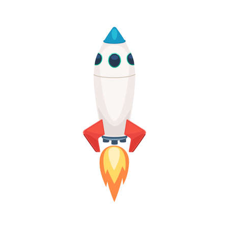 Rocket launch, spacecraft. Vector illustration in cartoon style isolated on white background