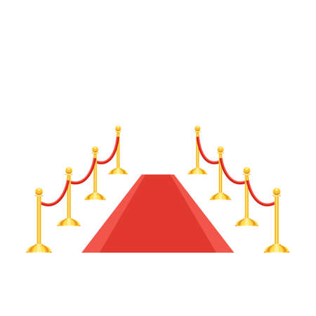 Red carpet and golden barrier with red rope. Vector illustration isolated on white background