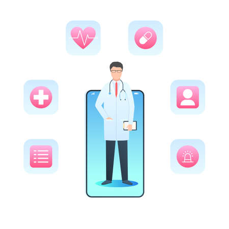 Online doctor, health service, medical consultation. Smartphone with medical app. Vector illustration in trendy flat style isolated on white background Stok Fotoğraf