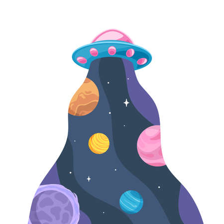 UFO and beam in which space with planets and stars . Vector illustration in cartoon style isolated on white background Stok Fotoğraf