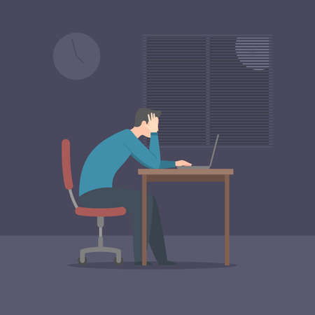 Tired man working at night at the table with a laptop. Vector illustration in trendy flat style