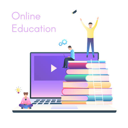 Concept for online education. E-learning, online training courses, tutorials. A group of people on a laptop with books. vector illustration in trendy style with gradients, the pattern for the banner d