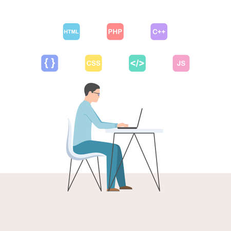 Programmer is working on a laptop. Young man with glasses. Developer programming and coding technology. Vector illustration in trendy flat cartoon style Stok Fotoğraf