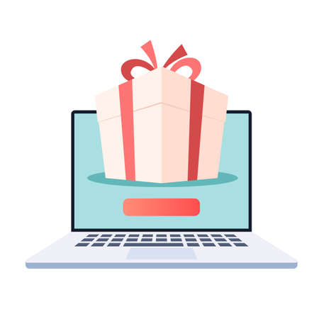 Laptop with gift box on the screen. Online store, web shopping, winning online promotions. Vector illustration in trendy flat style isolated on white background Stok Fotoğraf