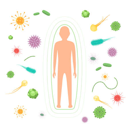 Body reflect bacteria and viruses attack. The concept of the immune system. Vector illustration isolated on white background Stok Fotoğraf