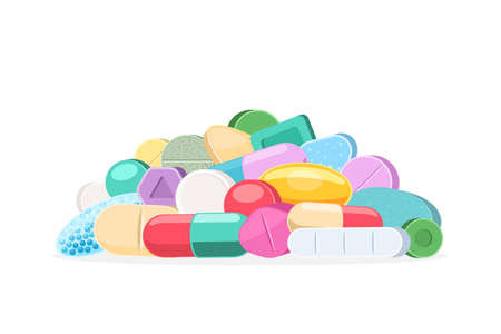 Pile of different medical pills. Tablets and capsules of different shapes and colors. Pharmacy preparations. Vector illustration isolated on white background Stok Fotoğraf - 126370686