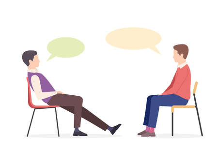 Two people sit on chairs and talk. Two men communicate, discuss business, look for new idea. Vector illustration in trendy flat style isolated on white background Stok Fotoğraf