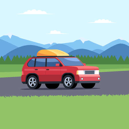 Traveling by car on the background of a mountain landscape. Family trip to camp concept. Vector illustration in cartoon style design