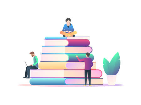 Library, students with textbooks and a laptop are trained. A pile of books and people reading. Vector illustration in trendy style with gradients isolated on white background
